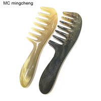 MC Hot Comb Detangling Hairbrush Shujin Active Massage Comb Natural Yak Horn Wide Tooth Thicken Hair Shampoo Brush Shaping Tool