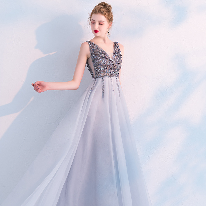 Slim Sexy Sequins Deep V-neck Hollow Open Back Evening Dress Chinese Style Evening Dress Improved Qipao Vestidos Size S-XXXL