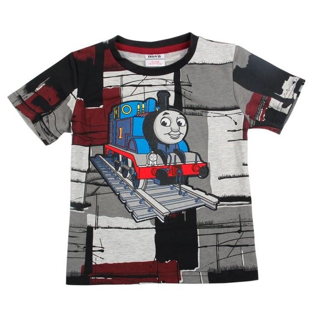 Meninos Tomas camisa curto do t crianças primavera roupas de verão T-shirt casual com Thomas dos desenhos animados impresso para o bebê meninos C4052