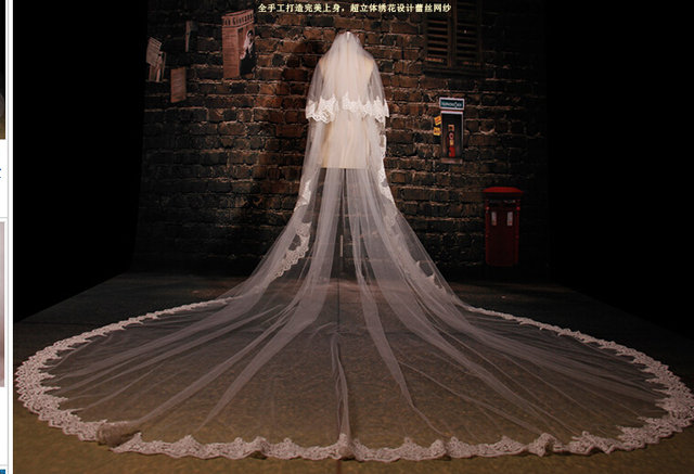 Luxury Lace Appliques Super Long Wedding Bridal Veils Long Train Milk White Wedding Veils 3.5 M /5 M Chapel Train Free Shipping