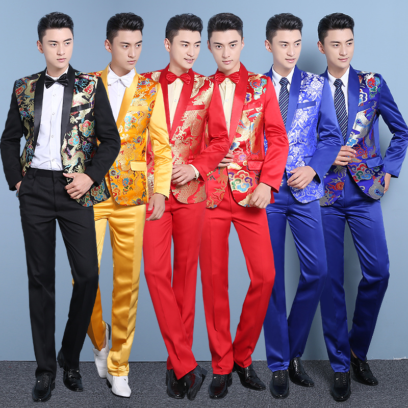 (jacket+pants) Male Wedding suit groom China style mens team singer stage costume Host show prom party jacket pants 2 piece set