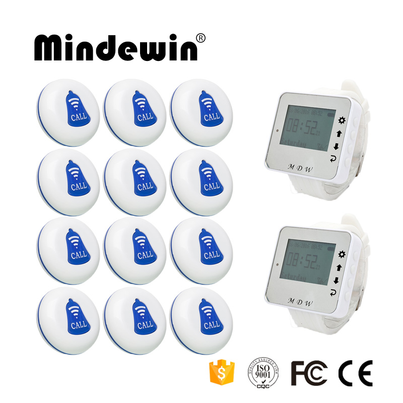 Mindewin Restaurant Wireless Call Pager System 2PCS Wrist Watch Pager M-W-1 and 12PCS Table Call Button M-K-1 restaurant pager watch wireless call buzzer system work with 3 pcs wrist watch and 25pcs waitress bell button p h4