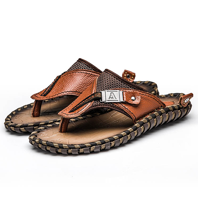 Brand Men's Flip Flops Genuine Leather Luxury Slippers Beach Casual Sandals Summer for Men Fashion Shoes New 2018 Big Size 48 2