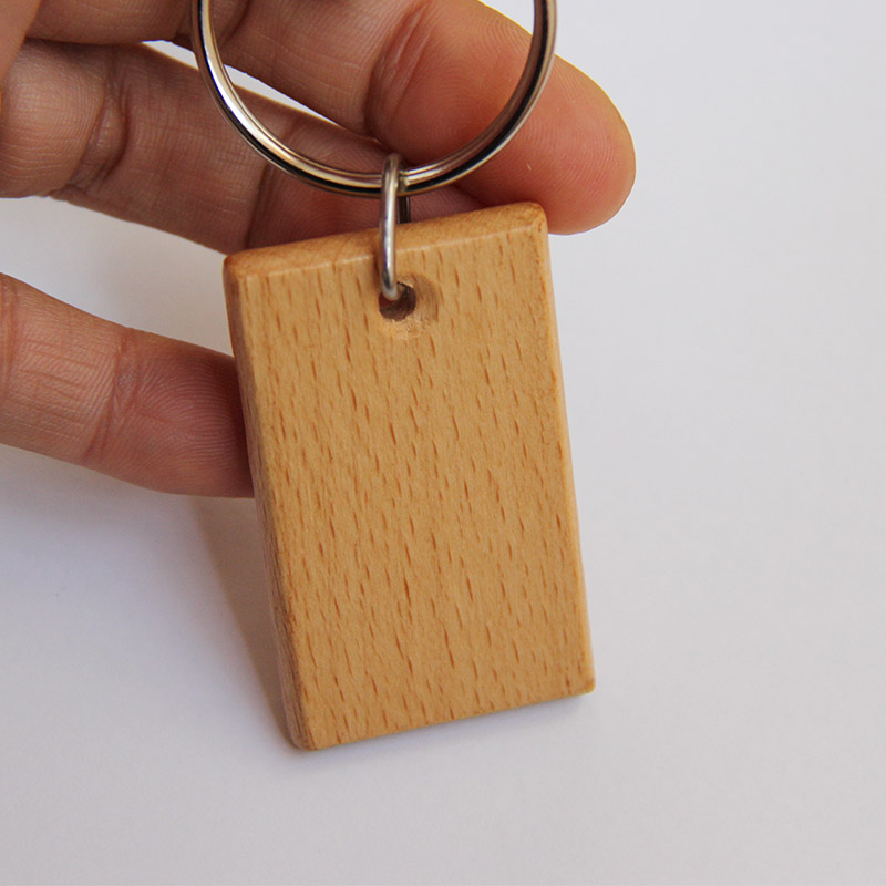 Wholesale 50pcs Blank Rectangle Wooden Key Chain DIY Promotion Customized Key Tags Promotional Gifts Free Shipping