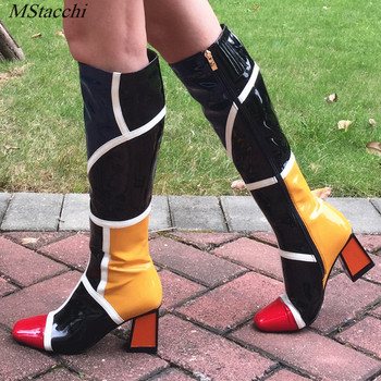Mstacchi new square Toe knee high boots for women shoes mixed color patchwork runway boots high heel long Boots Bottine Femme