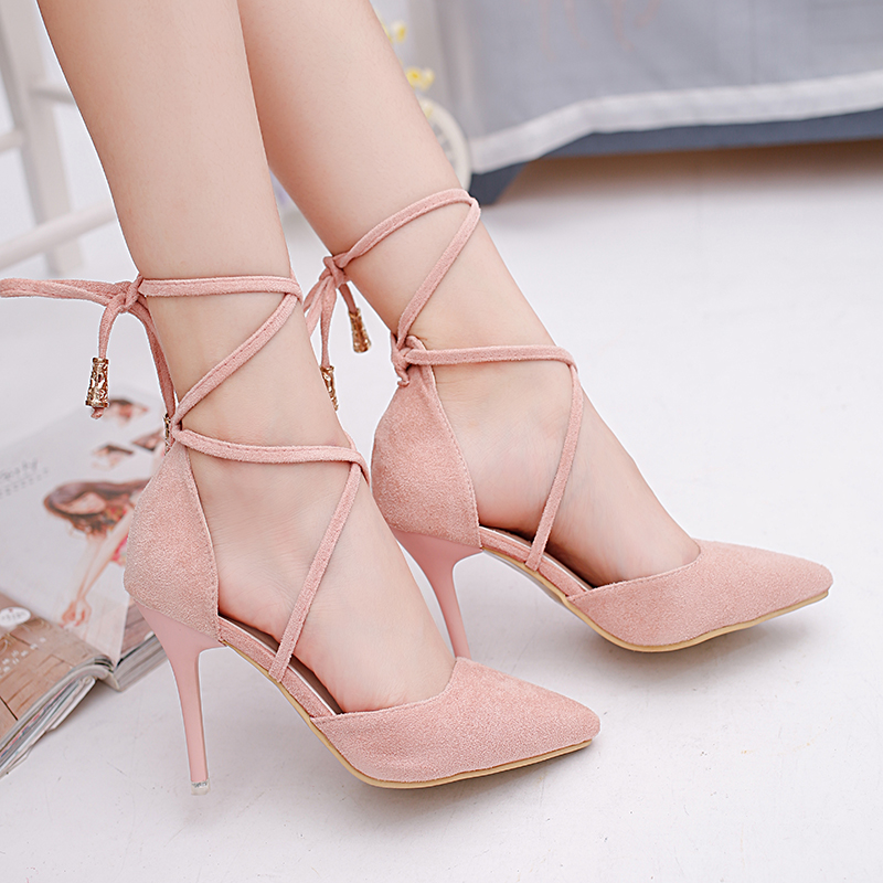 Mazefeng Fashion Summer Women High-heeled Shoes Rome Sexy Style Women Cusaul Pumps Pointed Toe Ladies Pumps Thin Heel Cross-tied