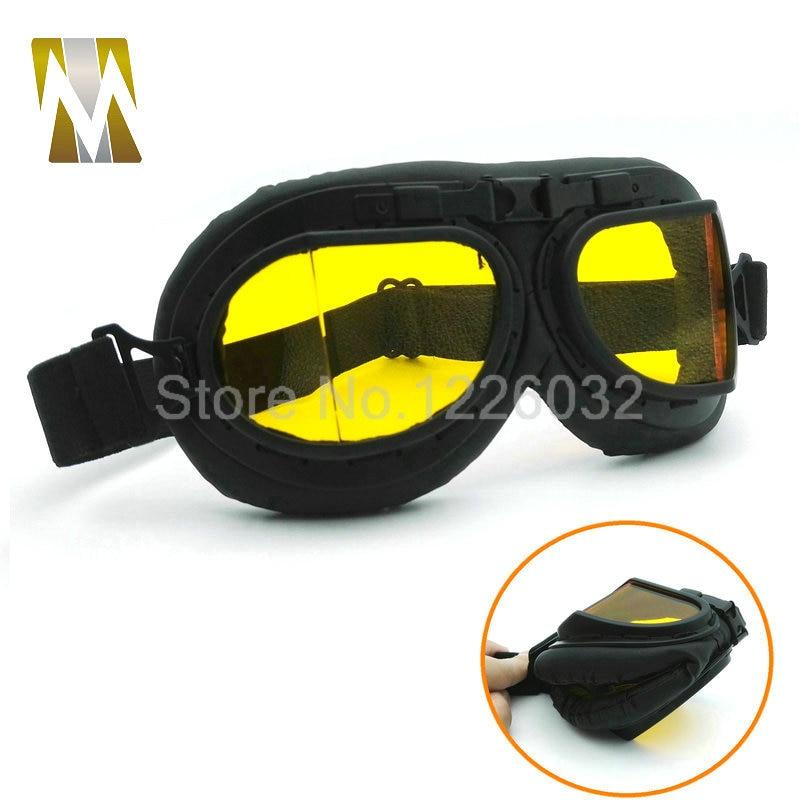 Negro gafas lentes ámbar gafas WWII RAF vintage motociclista Cruiser casco  gafas 0cb68f5bf1