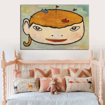 Japanese Cartoon Sleepwalking Doll Poster Print Canvas Painting Modern Yoshitomo Nara Drawing Picture For Baby Kids Room Decor image