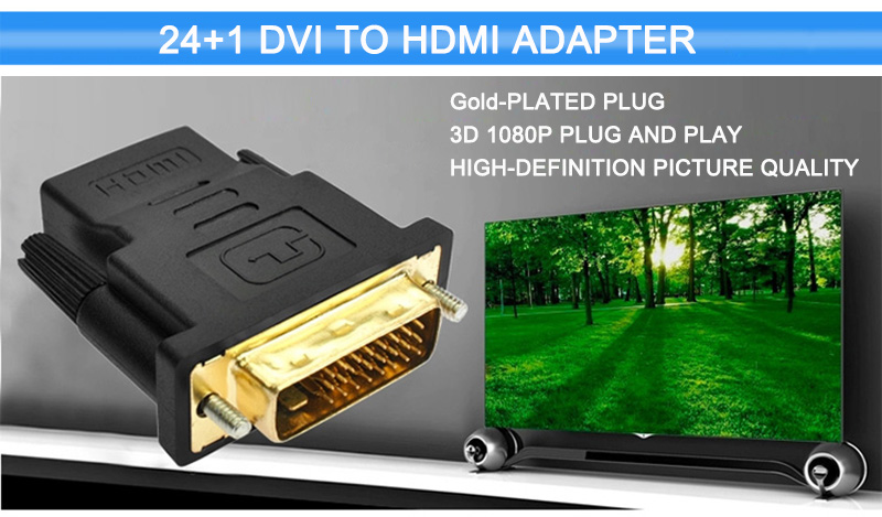 DVI 24+1 To HDMI Adapter Cables 24k Gold Plated Plug Male To Female HDMI To DVI Cable Converter 1080P For HDTV Projector Monitor