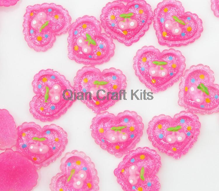 Cell Phone Decor Dashing Set Of 250pcs Pink Glitter Shiny Resin Cherry Heart Kawaii Decoden Flatback Cabochons 18mm Hair Bow Diy 50% OFF