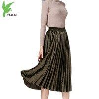 2018 Women's Spring Gold velvet Pleated Skirts High Waist Fashion Solid color Elastic waist Elegant Pleated Skirts OKXGNZ 1580