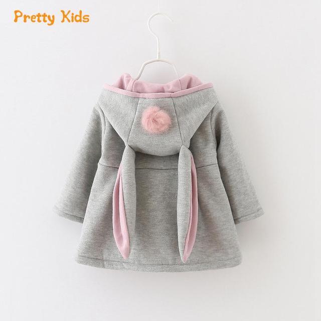 Outono Inverno Do Bebê Meninas Crianças Crianças Bola Coelho Bonito Com Capuz Princesa Presentes de Natal Roupas Casaco Jaqueta Casacos Outwears