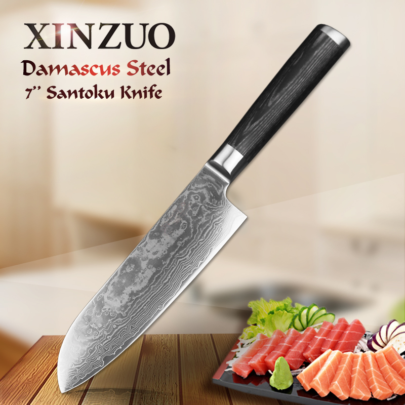 XINZUO 7 inch Santoku Knife 67 Layer China Chef Knife Damascus Stainless Steel Profesional Kitchen Knife