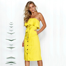 Beach Summer Dress Women Sexy Strapless Bow Tie Off Shoulder Party Dress with Belt Ladies Casual Button Yellow WHOLESALE yellow bow tie front strapless zip back design midi dress