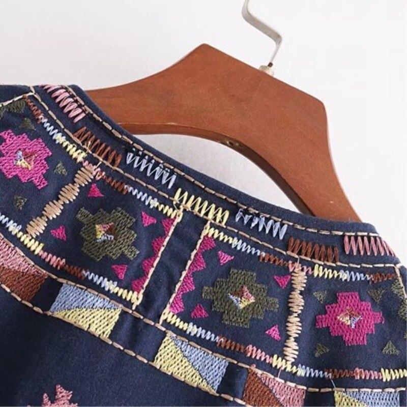 Blu Boho Donne Blusa Kimono Lungo Rivestimento Cotone Cappotto Camicetta Camicie Stile Top Del Ricamo Camisas Feminina Boemia Della Cardigan Nsz wpqdHw