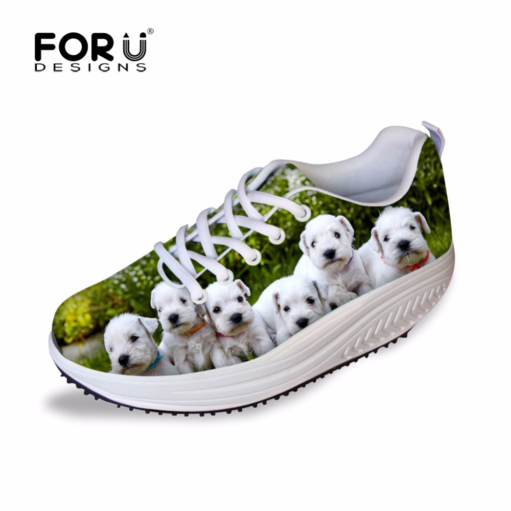 FORUDESIGNS Cute Animal Dog Cat Pattern Women's Casual Swing Shoes High Heel Body Shaping Shoes for Women Ladies Zapatos Mujer cute 18 inch animal cat dog printing