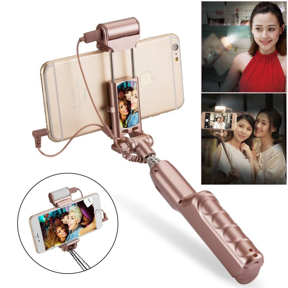 Selfie Stick LED fill light Mini Wired Handheld Selfie Stick Universal Monopod Phone Self timer IOS