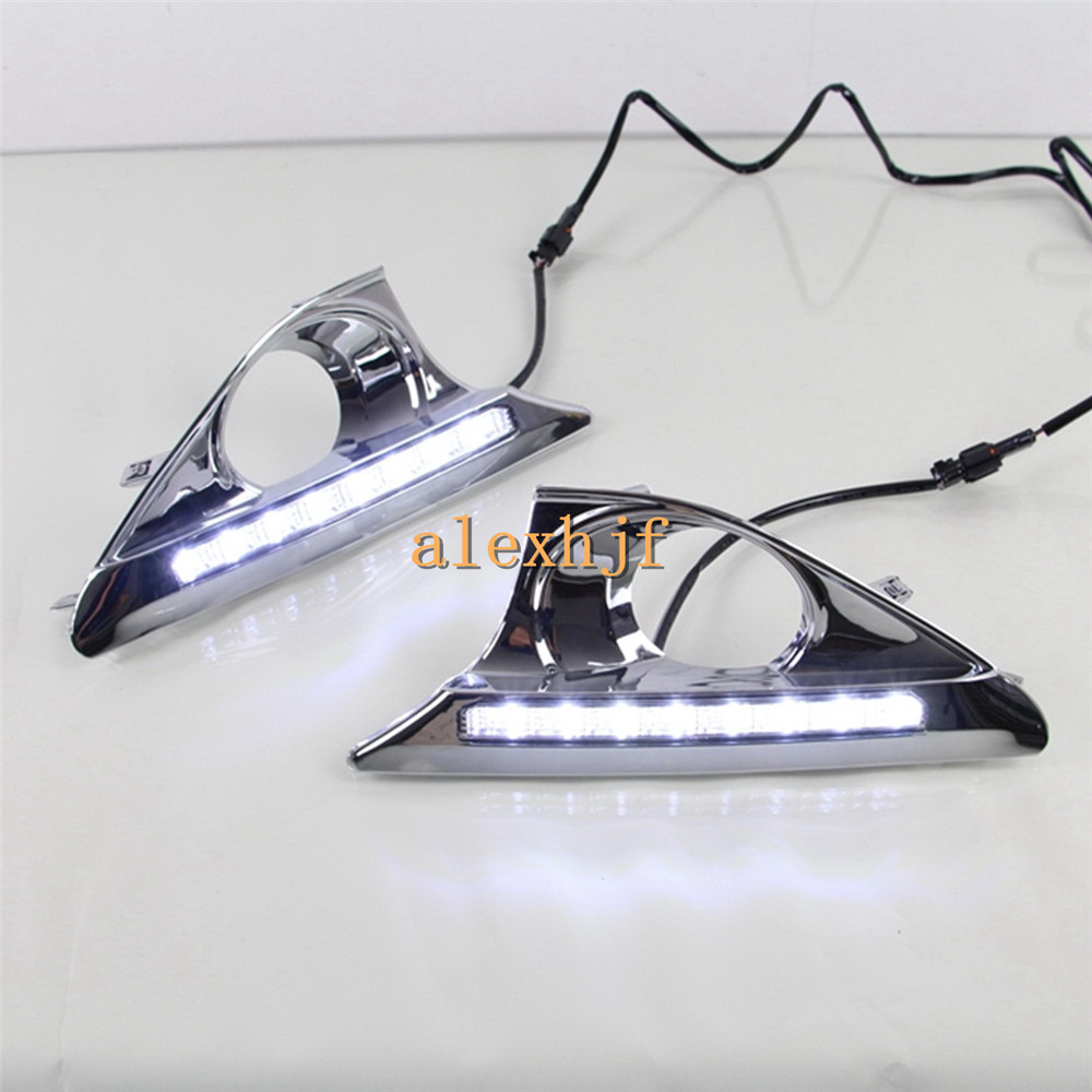 July King 8LEDs Daytime Running Lights DRL with Plating Fog Frame, LED Fog Lamp Case for Toyota Camry 7th AURION 2012~ON 2pcs new style led drl car daylight daytime running lights for toyota camry aurion 2012 2013 2014 with turn signal lamp function