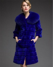 2017 Luxury Real Fur Women's Jackets Rex Rabbit Fur Coat Medium And long Fox fur collar Blue black red fur coat