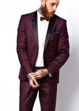 Latest Coat Pant Designs Burgundy Black Satin Peaked Lapel Formal Fashion Custom Made 2 Pieces Tuxedo For Men Masculino C