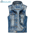 Grandwish Men's Denim Vest Vintage Sleeveless Plus Size 2XL Cowboy Jeans Vest Men Slim Fit Frayed Denim Vest Men ,PA857