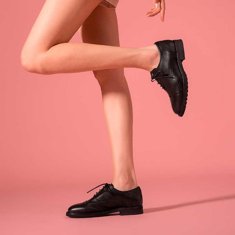 BeauToday Oxfords mujer Calfskin cuero genuino Wingtip Cierre de cordones señoras Brogue zapatos planos hechos a mano A21069