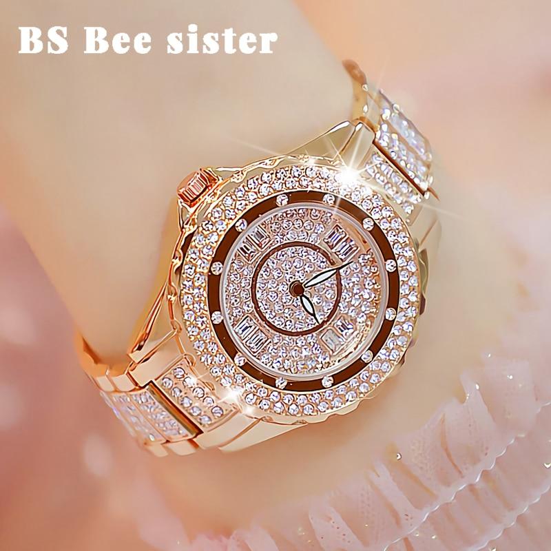 Crystal Women Watches Designer Brand Luxury Diamond Rose Gold Woman Watch Stylish Elegant Ladies Wrist Watch Montre Femme 2019