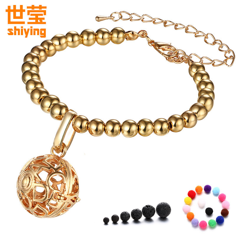 SHIYING (5 soft Free felt beads ) aromatherapy lockets bracelet Hollow Essential Oils diffuser ABC new pattern for women