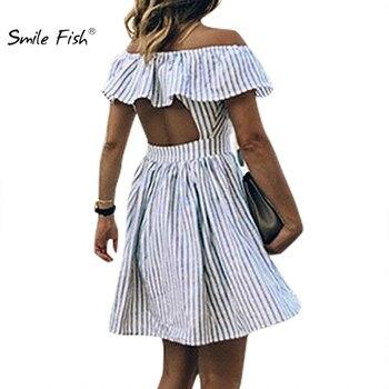 Ahuecado volantes Casual chica verano 2018 nuevo Mini vestido de sol mujeres rayado fuera del hombro vestido Club Sexy playa Mujer nuevo GV719