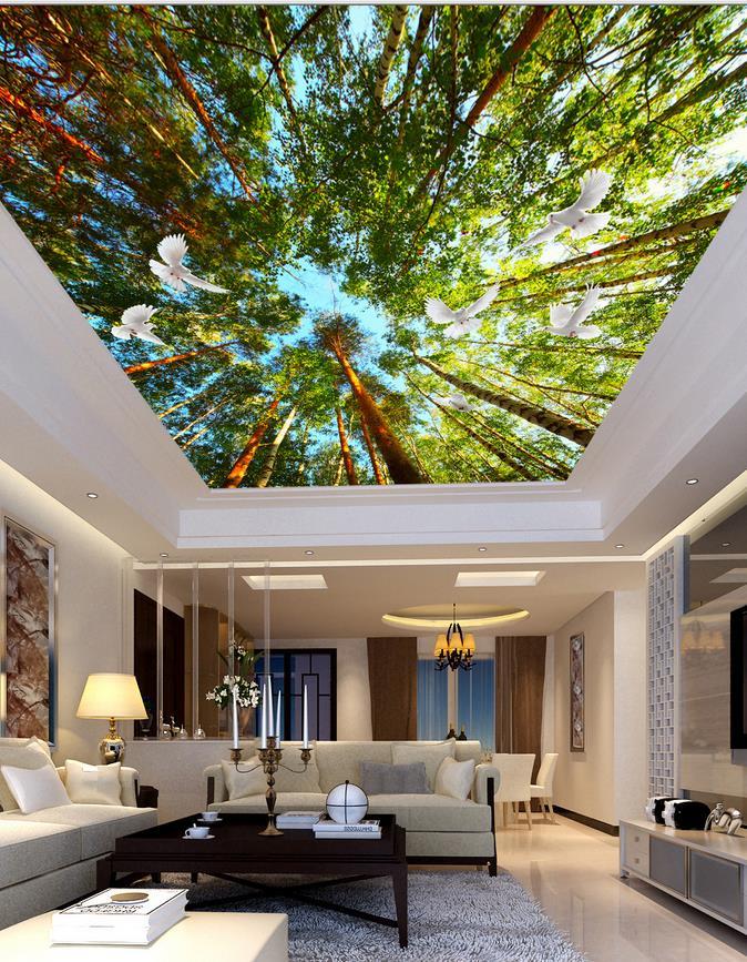 Boschi piccioni soffitto camera da letto soggiorno 3d for Murales per camera da letto