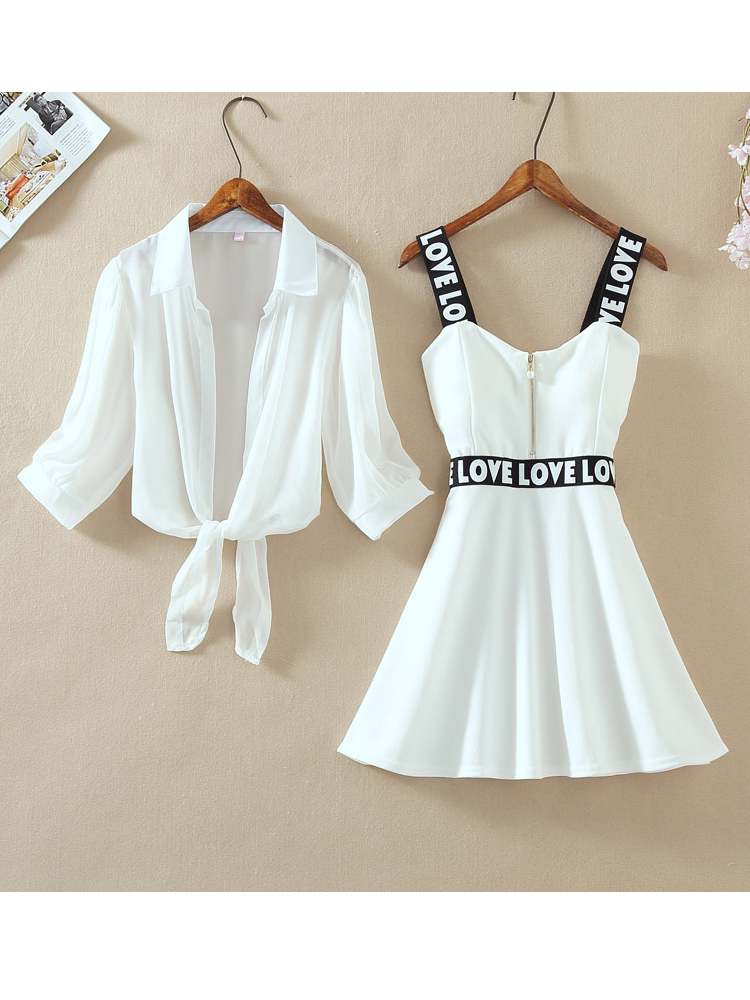 Top Dress Lantern Short Spaghetti-Strap Letter Chiffon-Shirt Two-Pieces-Sets A-Line Fashion