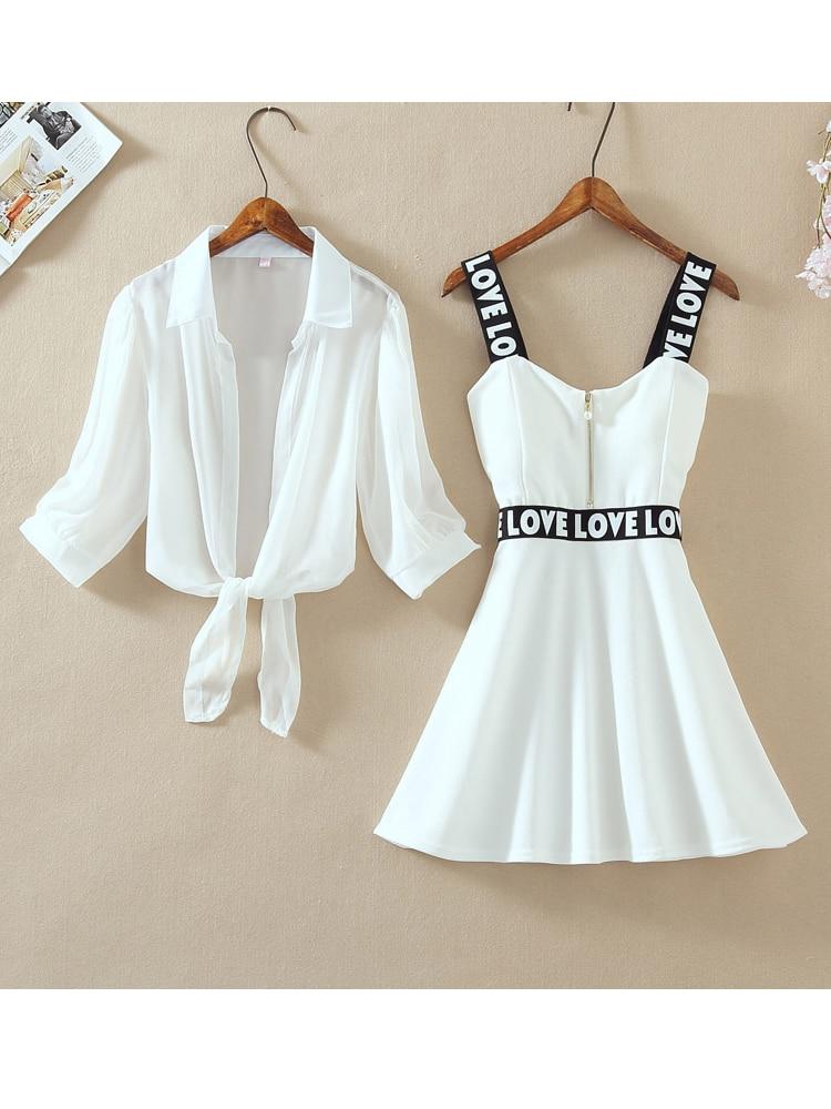 Top Dress Lantern Short Spaghetti-Strap Letter Chiffon-Shirt Two-Pieces-Sets Mini Fashion