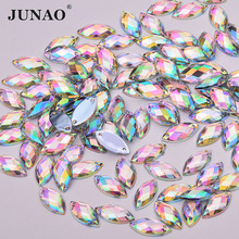 JUNAO 7x15mm Crystal AB Sewing Acrylic Rhinestones Horse Eye Strass Applique Sew On Flatback Stones for Needlework Dress Crafts