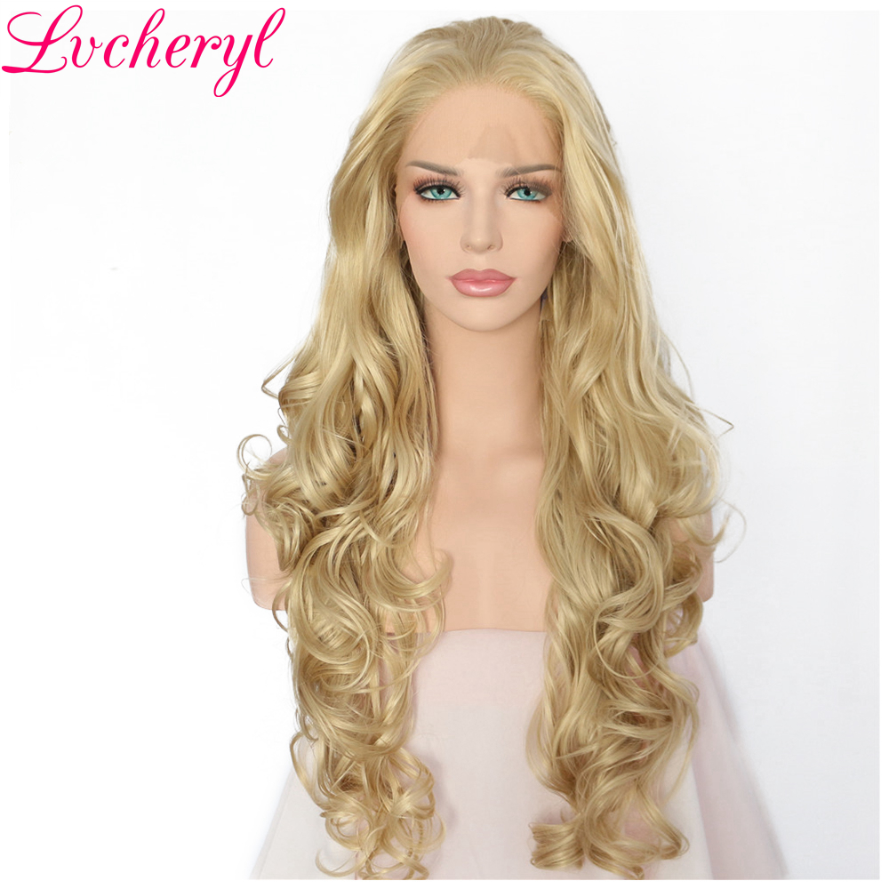 Lvcheryl Hand Tied Natural Long Wavy Blonde Color High Temperature Fiber Hair Heat Resistant Synthetic Lace