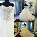Wedding Dresses Pearls Beaded Sweetheart Tulle   Ball Gowns 2017 Real Photo Bride Dresses vestido de noiva princesa luxo