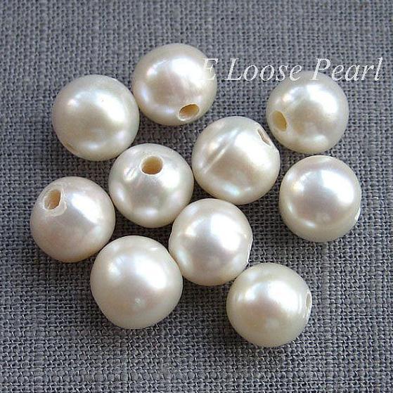 04694cb4e26 Sorte Jóias de Pérolas de Cor Branca de Água Doce Pérolas Beads Grande  Buraco Pérola 8.5 9.5mm Redonda Foto 2mm Buraco Jóias DIY em Contas de Jóias  ...