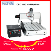 300W Three axis Threads Screw CNC Router Engraver Engraving Milling Drilling Cutting Machine CNC 3040 T D