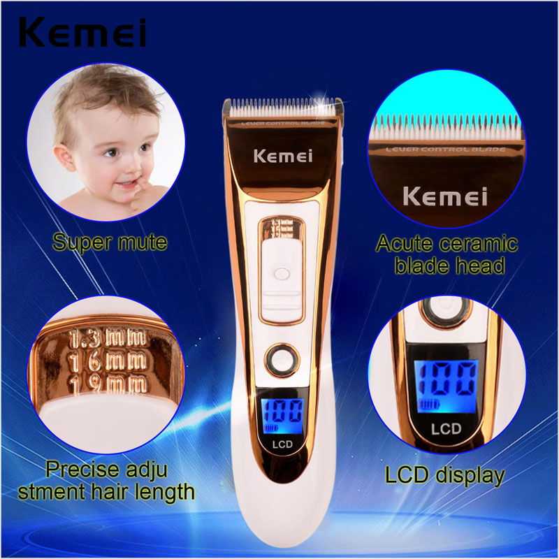 Professional Electric Shaver Hair Clipper Trimmer Rechargeable LCD Display Razor Haircut Kit Low Noise Cut Machine Quick Charge kairui rechargeable dual blade shaver razor w trimmer ac 220v