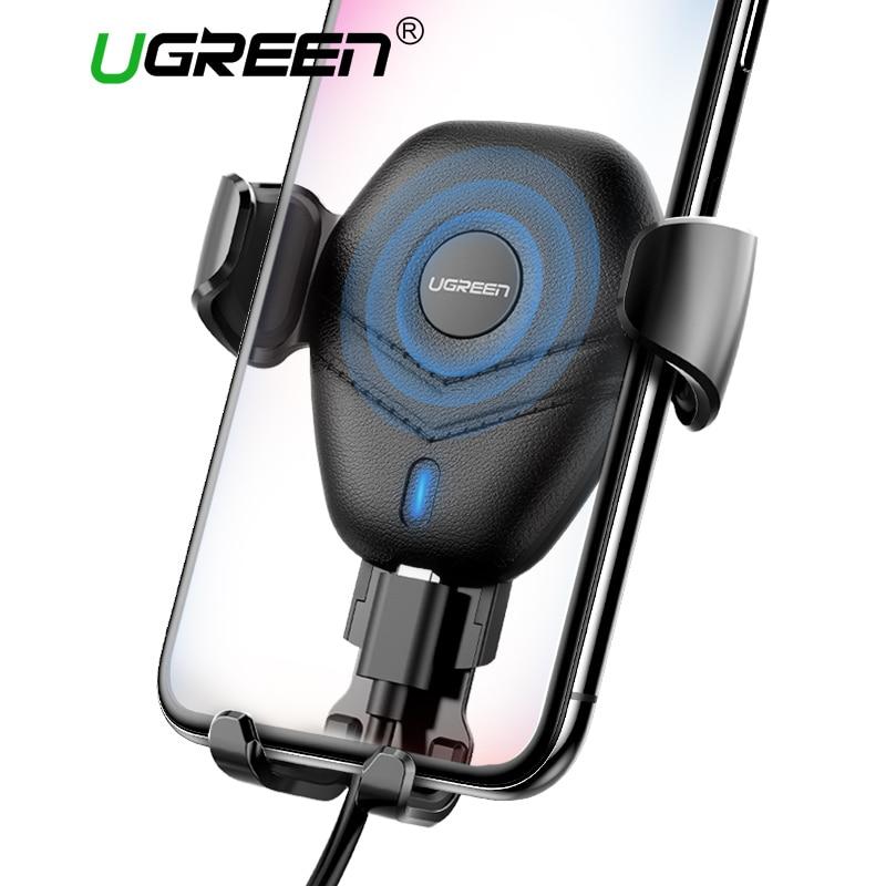 Ugreen coche cargador inalámbrico Qi para iPhone X XS XR 8 rápido de carga inalámbrica para Samsung Galaxy S9 S8 sostenedor del teléfono del coche