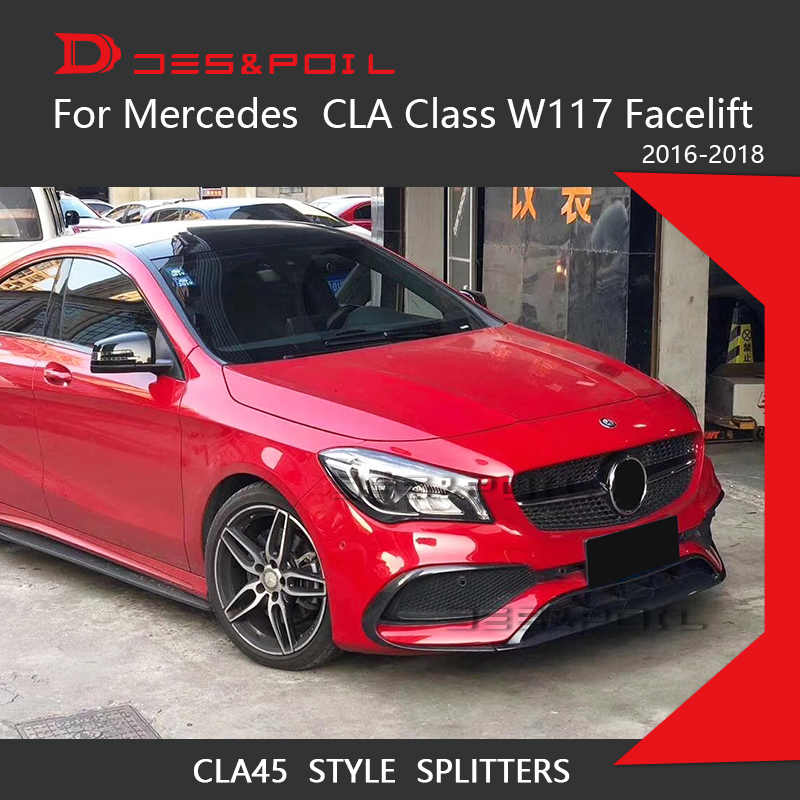 For CLA Class W117 Facelift Front Bumper Lip Canards Splitters For Mercedes  Benz Tuning Front Lip Car Styling CLA250 CLA220