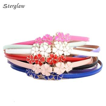 Sweet cute Flowers women's belts brand skirt belt dresses for girls riem LIC 2018 high quality female casual leather belt Y003