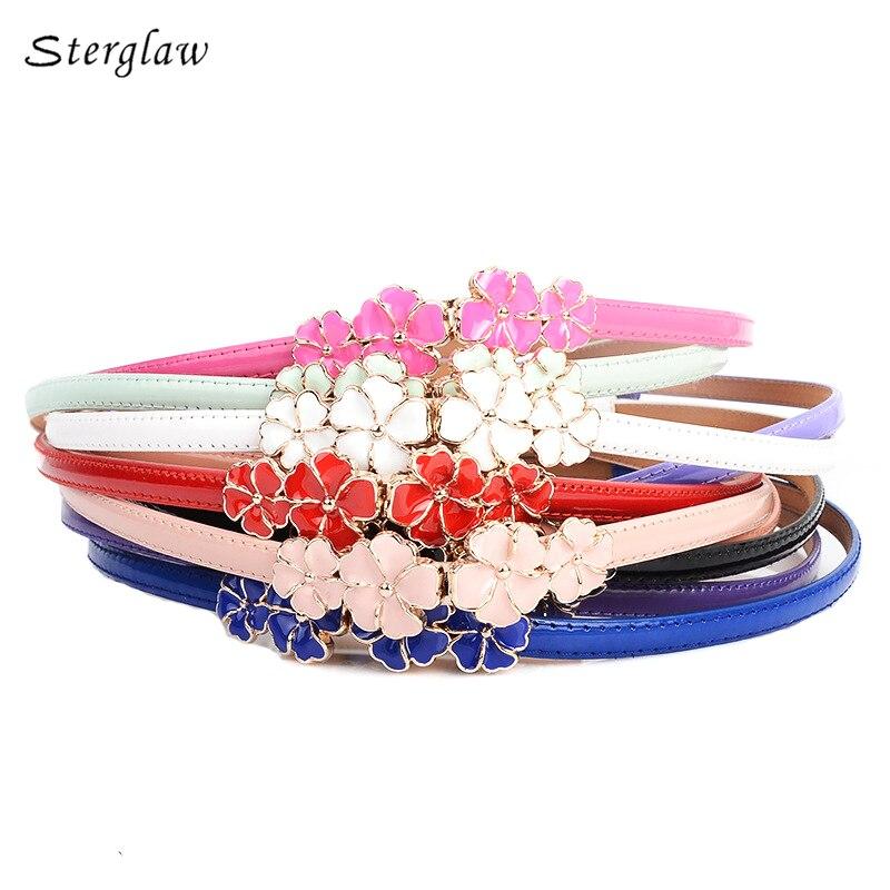 Dulce flores lindas mujeres cinturones de marca falda vestidos para niñas riem LIC 2018 alta calidad femenina casual cinturón de cuero Y003