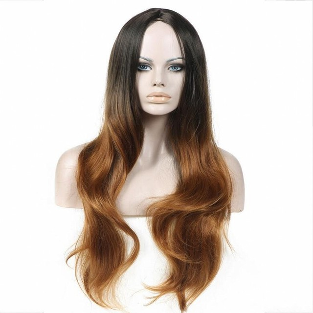 2016 Fashion Omber Color Synthetic Hair Women Long Wavy Wigs The Gradient Black Brown Natural Hair Wigs