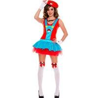 Sexy Dames Witte Handschoenen en Snor Ketting Super Mario Luigi Brothers Fancy Dress Mario Kostuum Hen Night Party Vrouwen L1487