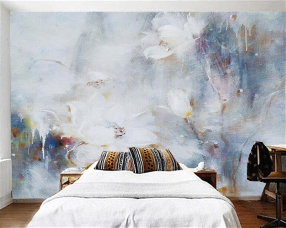 Woonkamer Behang Modern : Aangepaste behang d stereo abstracte lotus olieverf modern art