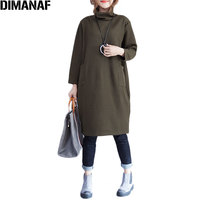 DIMANAF Plus Size Women Dress Solid Cotton Autumn Warm Comfortable Casual Female Fashion Show Thin New