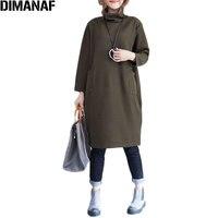 DIMANAF Plus Size Vrouwen Jurk Solid Katoen Herfst Warm Comfortabele Casual Vrouwelijke Modeshow Dunne Nieuwe Alledaagse Losse Jurken