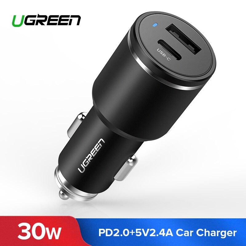 Ugreen USB Auto Chagrer 30 watt PD Schnelle Ladegerät für iPhone Xs USB C Auto Ladegerät für Huawei P20 Pro schnell Ladung für Samsung Galaxy S9