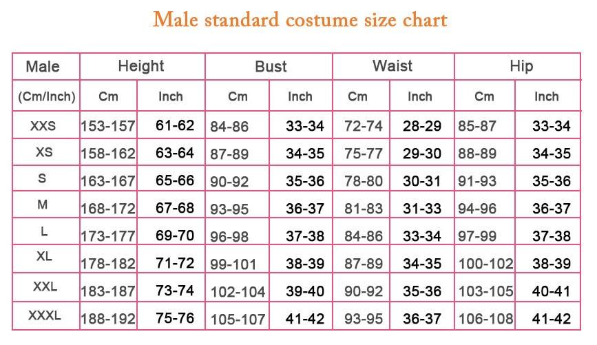 male size chart