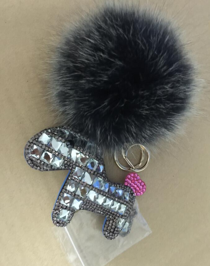 Gray Sparkly Horse Keychains Frost Gray Pompoms Large Fox Fur Ball Puffs  Key chains Glitter Rhinestone Keyring-in Key Chains from Jewelry    Accessories on ... b8094233a